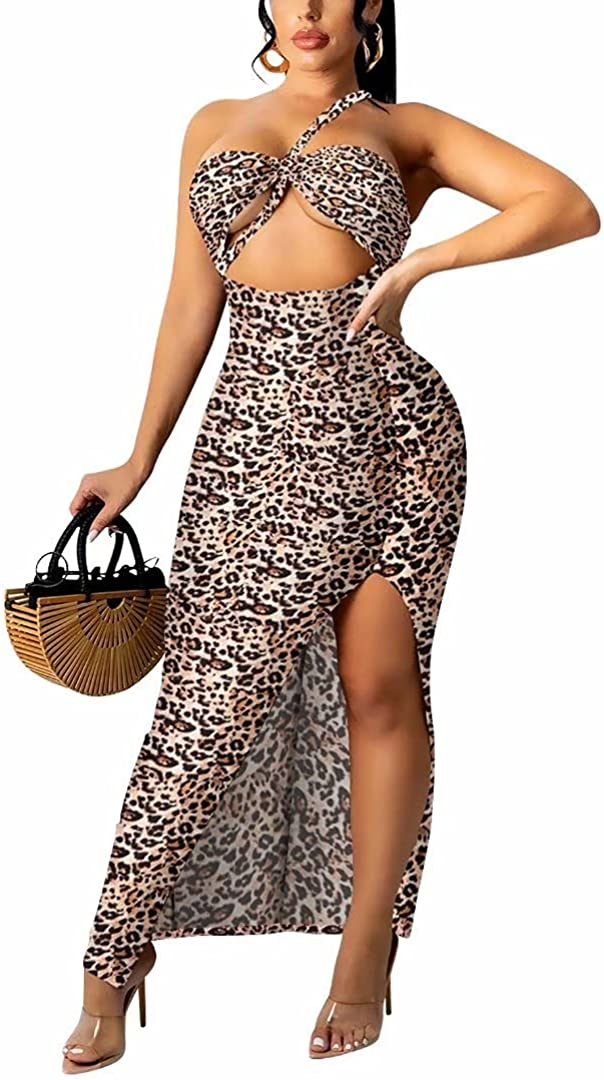 Direct stock discount Women Ranking TOP2 Sexy Sleeveless Leopard Print Dres Bodycon High Party Slit