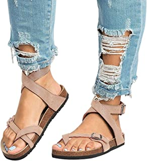Chenghe Women's Fashion Flat Ankle Buckle Sandals Gladiator Thong Flip Flop Mayari Sandals