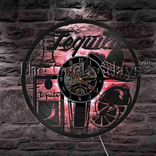 1 Tequila Drink LED Wandleuchte Schallplatte Wanduhr mit LED Hintergrundbeleuchtung Bar Taverne Tequila Wein Bier Wohnkultur