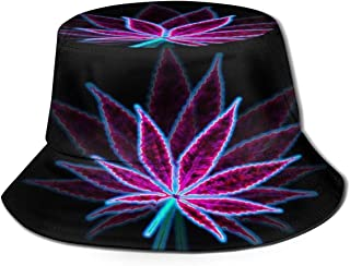 Fisherman Hat Psychedelic Marijuana Weed Sun Hat Women Men Eye Protect Breathable Bonnie Cap 3D Printed Beach Hat Durable&Reversible for Summer Outdoor