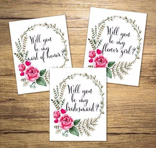 Bridal Party Gift Bridesmaid Proposal Card Bridesman Floral Bridesmaid Card Flower Girl Maid of Honor Will You Be My Bridesmaid Card