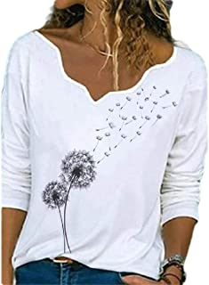 GUOCAI Women Tops V Neck Print Long Sleeve Tee Blouse T Shirts