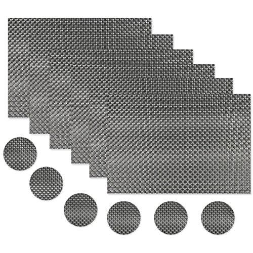 ZhengYue Lot de 6 Sets de Table(45 * 30cm) Lavables PVC Napperons pour Dîner Antidérapant Résiste à la Chaleur et Fait en Vinyle (B-Black)