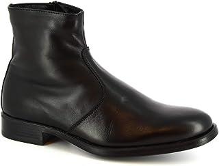 Leonardo Shoes Stivaletti Uomo Artigianali Pelle Vitello Nera Chiusura con Zip - Codice Modello: 248-5135 Butter Calf Nero