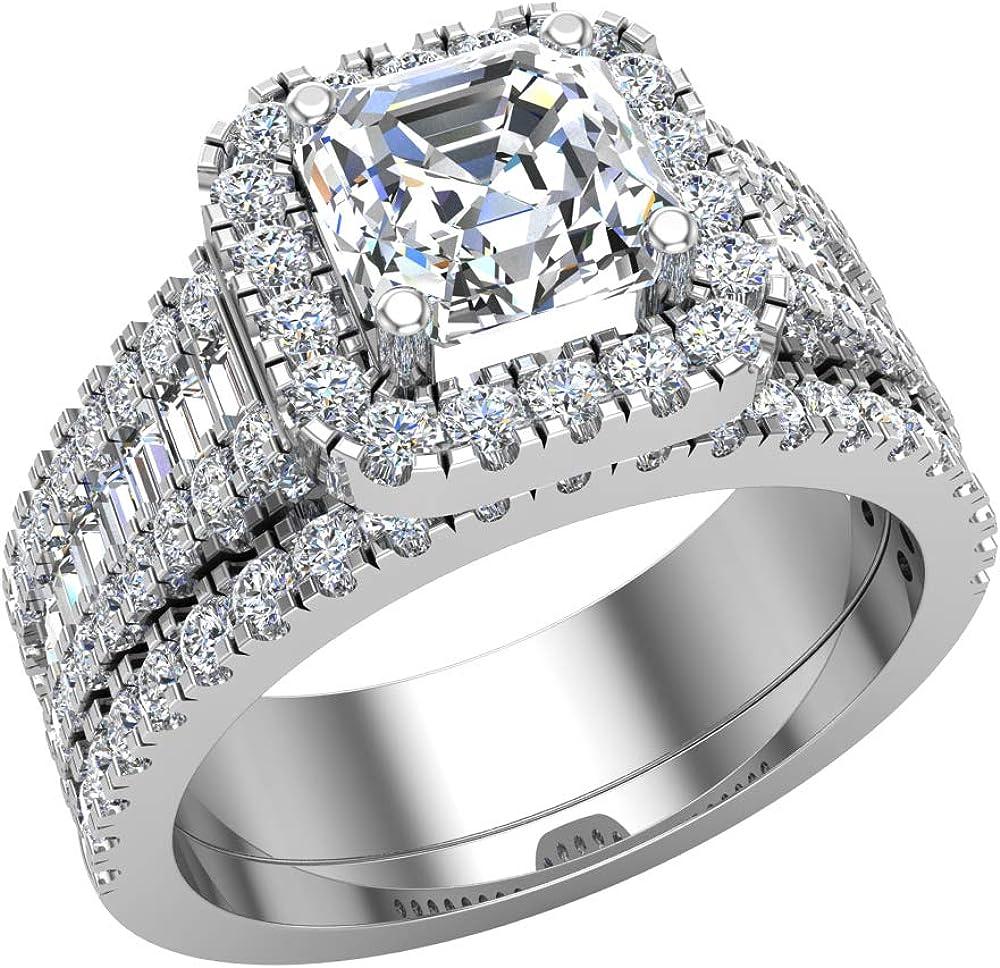 Stunning Asscher Cut Center Cushion Se Ring Diamond Miami Mall Wedding Beauty products Halo