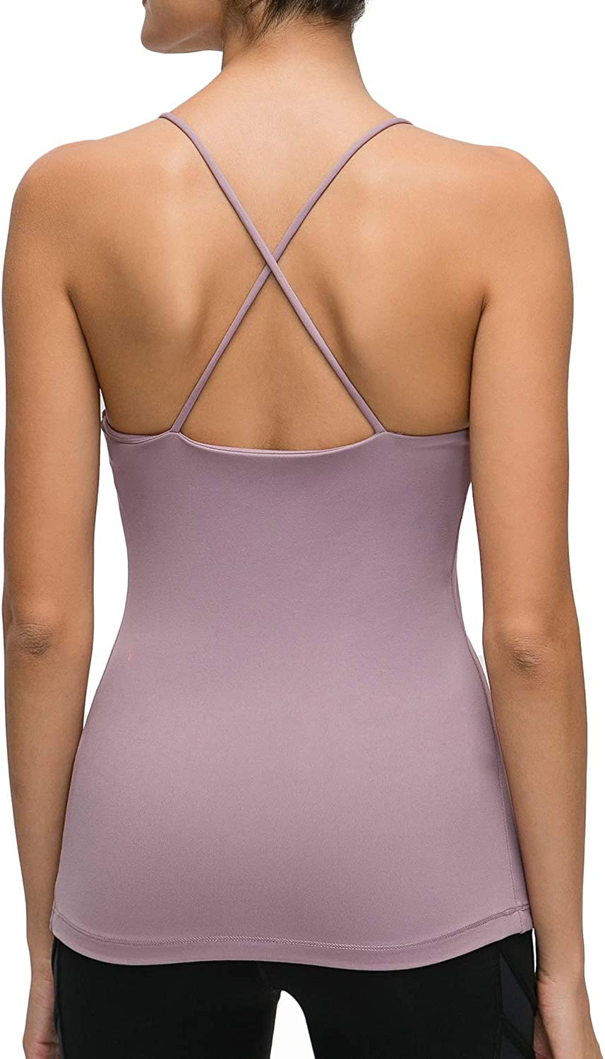 Lemedy Workout Tank Top Built in Bra Strappy Back Yoga Activewear for Women