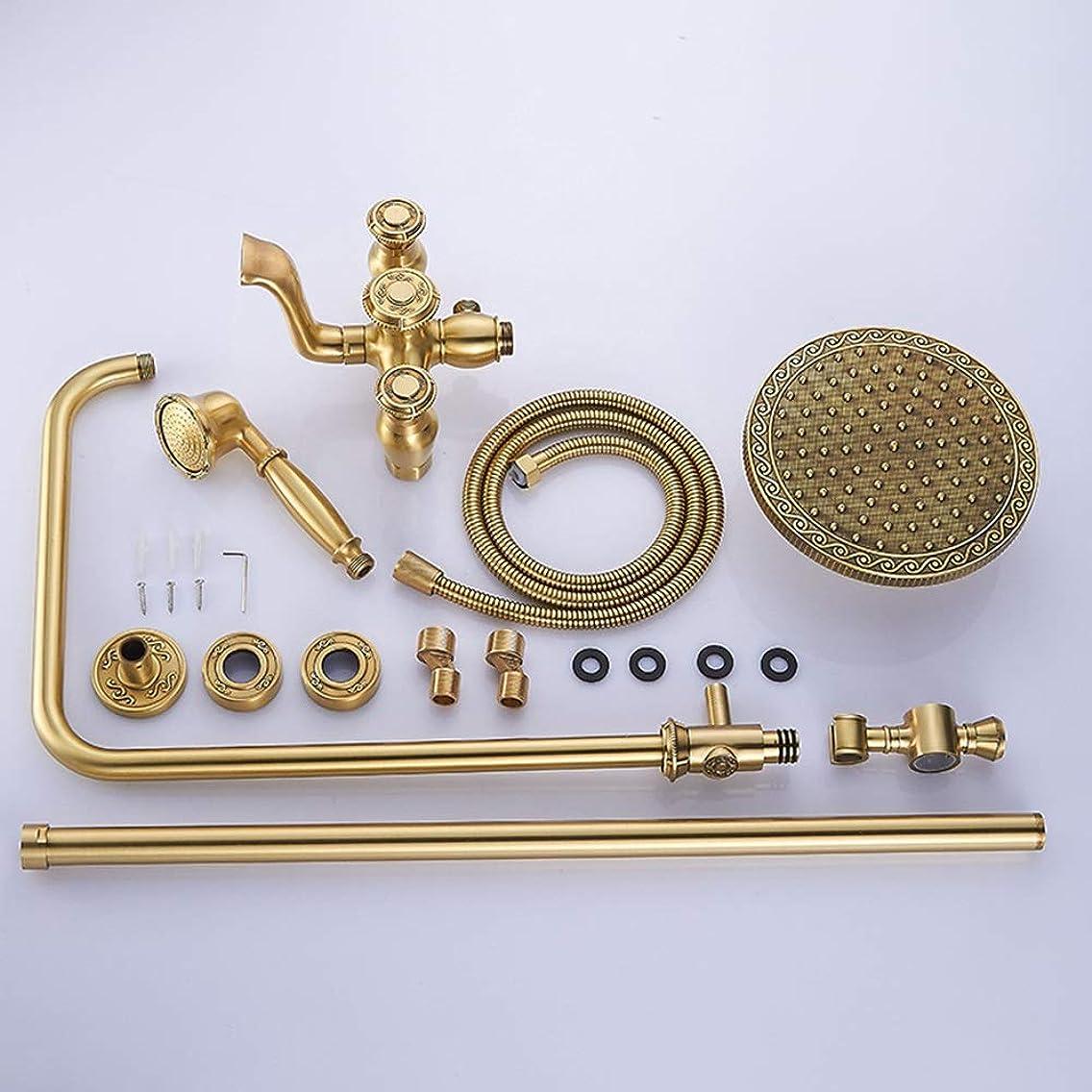 セールストライクフライカイトシャワーヘッド 取り付け簡単 リフトレバー蛇口ブロンズすべての銅コンチネンタル刻まれたアンティーク浴室のシャワーセットで、円形のトップ3の機能ハンドヘルドシャワー加圧スプレーシステム