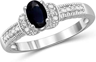 Jewelexcess 0.60 Carat T.G.W. Sapphire and 1/20 CTW White Diamond Sterling Silver Ring