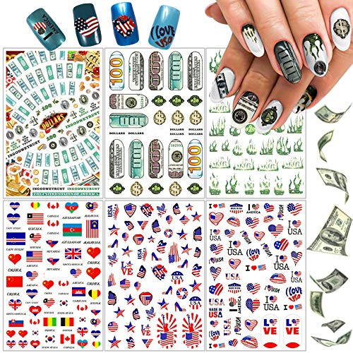 Kalolary 6 Sheets Money Dolla Nails Art Sticker 3D Design Wealthy Rich Style Nail Stickers American Flag Foil Sticker Manicure Tips