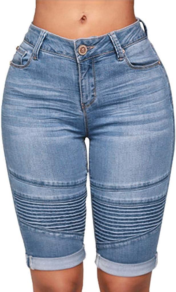 Womens Knee-Length Skinny Denim Shorts High Rise Casual Stretch Bermuda Hot Pants