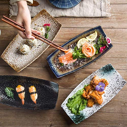XXJ-Tazones Plato de Sushi de Estilo japonés Bandeja de cerámica Bandeja Plana Barra de Sushi Plato de Comida fría Exhibición de Pescado de Sushi Bandeja en Forma de Barco Vajilla