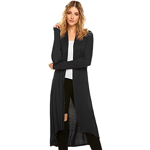 adea23b0835 POGTMM Women s Long Open Front Drape Lightweight Duster High Low Hem Maxi  Long Sleeve Cardigan(