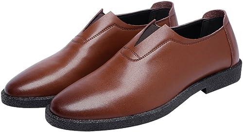 Z.L.F Chaussures Mocassins Homme Homme Homme en Cuir Véritable Mocassins Richelieus Doux à Bout Pointu Chaussures en Cuir (Couleur   Marron, Taille   42 EU) 199