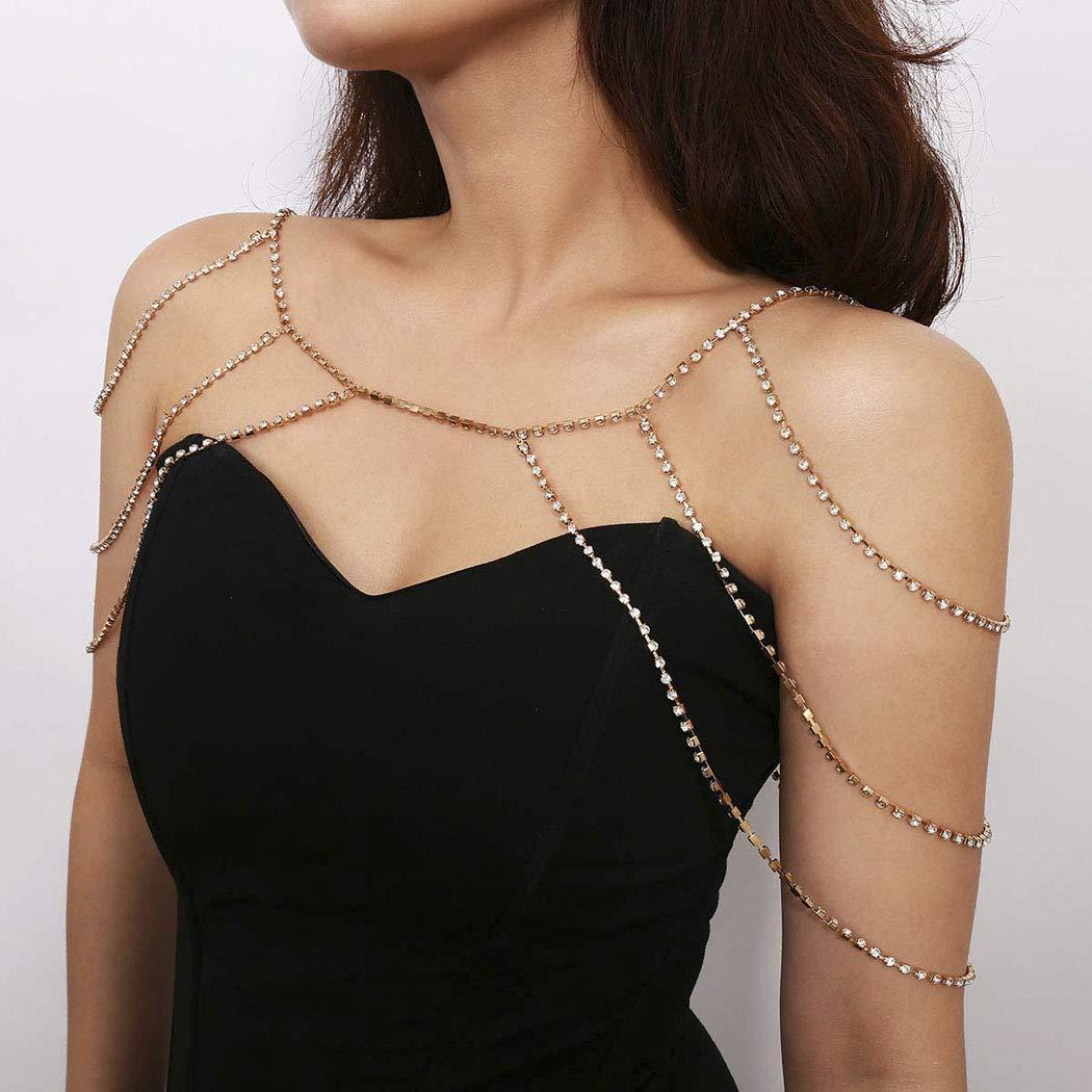 Yean Crystal Bikini Chain Crossover Sexy Bra Chain Harness Beach Body Jewelry for Women and Girls