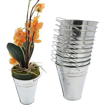 Evelots Large Galvanized-Metal Pail-Buckets-Planters W/Handle -Set/12