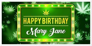 Marijuana Light Birthday Banner Personalized Party Backdrop Decoration