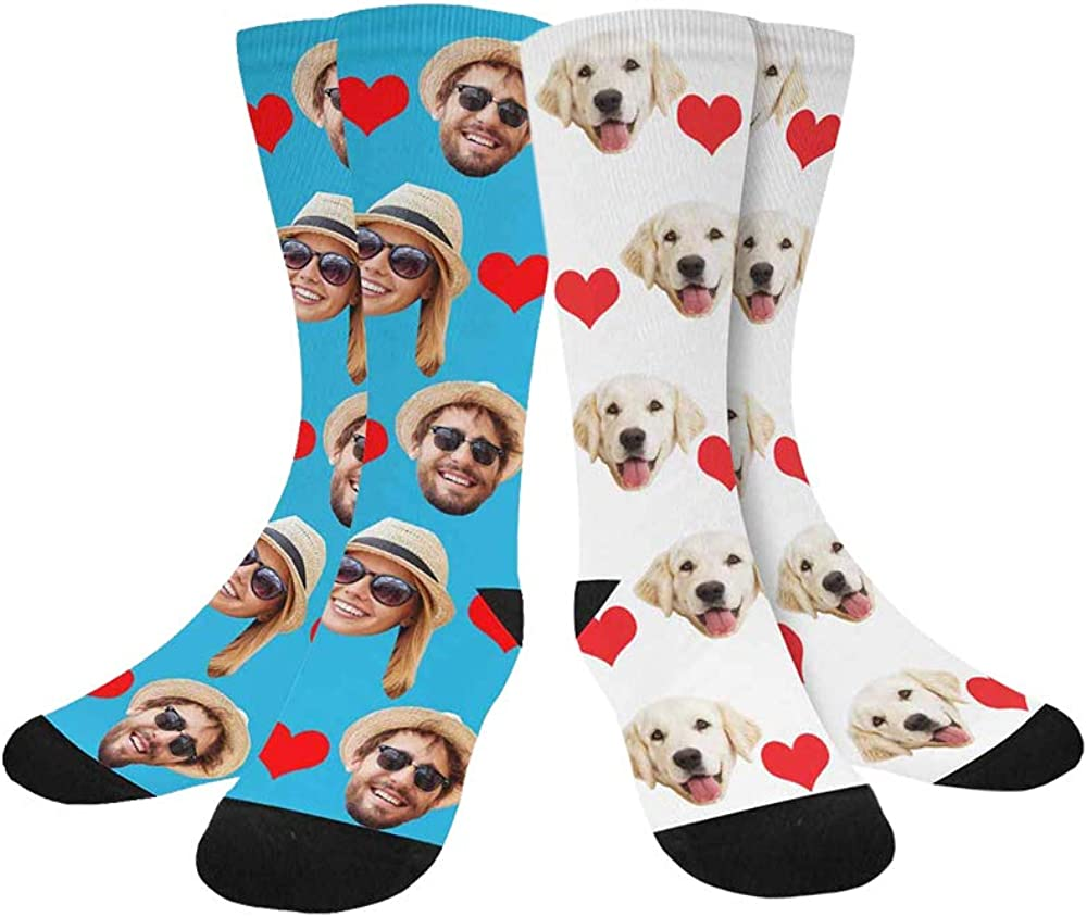 Custom Deluxe mart Face Socks Personalized Your Photo Crew Pet High Dog Cat