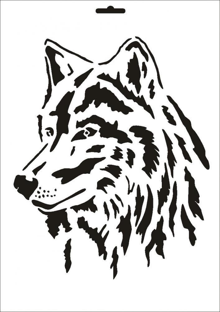 UMR-Design W-090 Wolf Textile- wallstencil Size A3