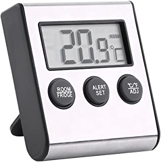 Digital Fridge Thermometer with Large LCD Display Refrigerator Temperature Meter with High Low Temperature Waring Alarm an...