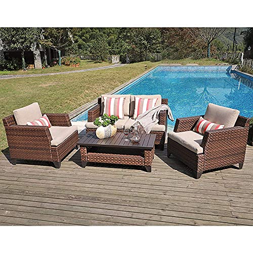 SUNSITT 5-Piece Outdoor Patio Furniture Set, Wicker Patio Conversation Set with Waterproof Sofa Cover, Coffee Table with Aluminum Slatted Top, Brown PE Rattan