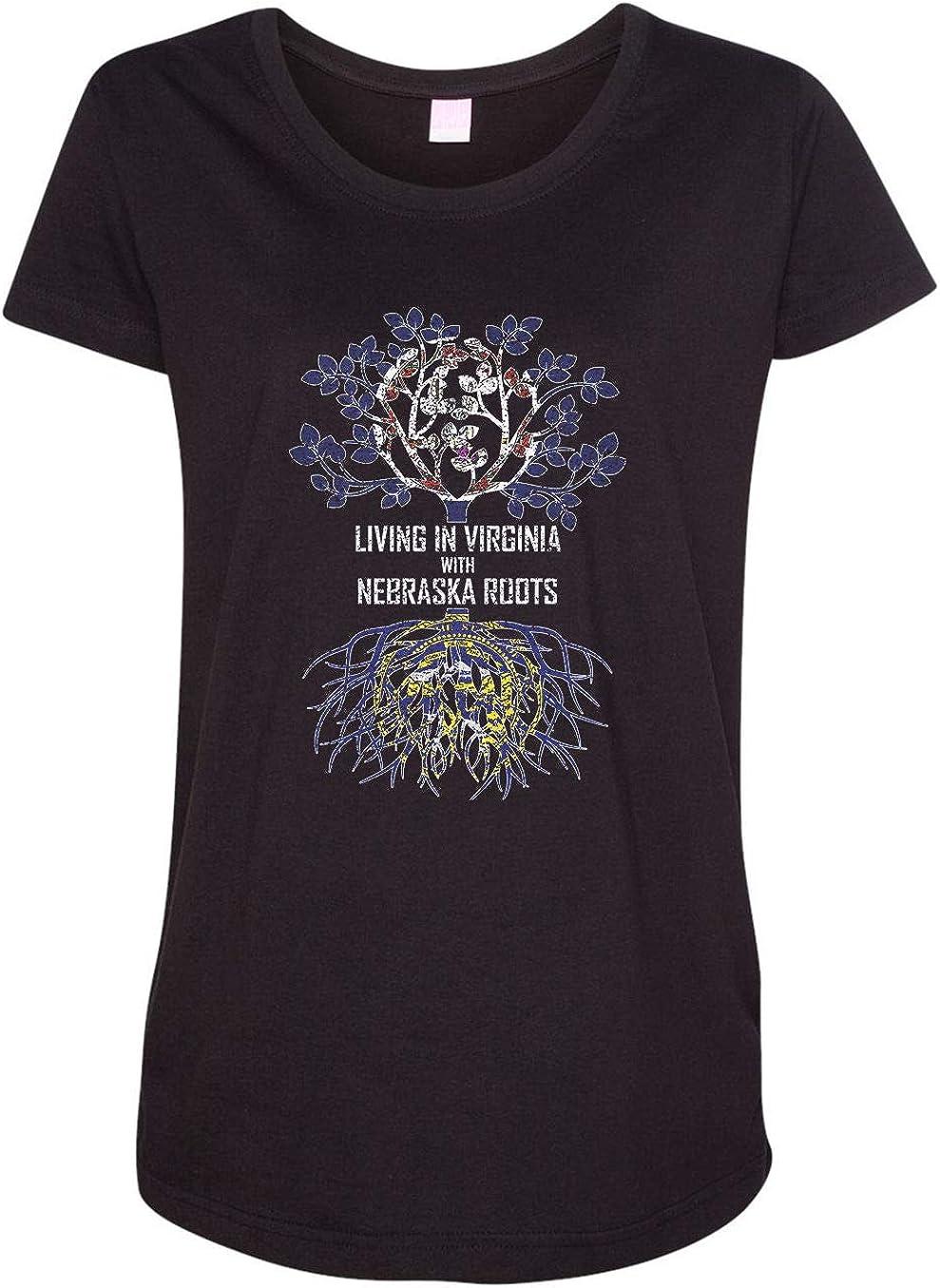 HARD EDGE DESIGN Women's Living in Virginia with Nebraska Roots T-Shirt