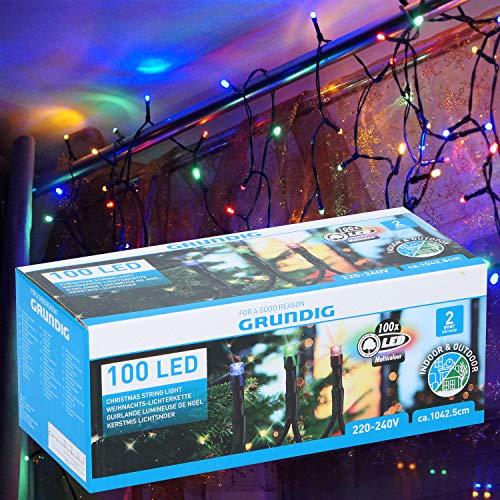 LED-Lichterkette-Bunt Außen Innen 10m 100 LED´s Multicolor Weihnachtsbaum-Beleuchtung