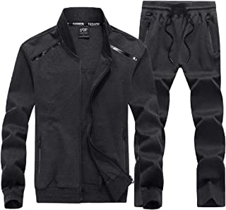 Mens Plus Size 2 Piece Tracksuit Full Zip Fleece Casual Jogging Sweat Suit Set