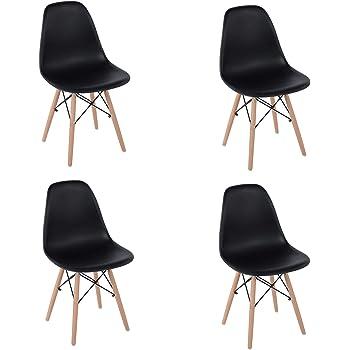 FurnitureR Eames Set de 4 Diseño Moderno Silla de Comedor con Asiento de PP y Patas de Madera Natural Beech sin Brazos para Comedor Negro