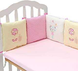 Hengfey Cotton Breathable Baby Crib Bumpers 6 PCS Pink Flower