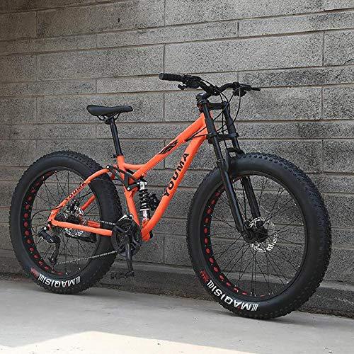 WANG-L Bicicletas De Montaña De 26 Pulgadas Adultos Hombres Niños Niñas Neumático Gordo Bicicleta De Montaña Velocidad Variable Freno De Disco Doble Bicicleta MTB,Orange-24Speed