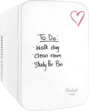 Cooluli Vibe Mini Fridge for Bedroom - With Cool Front Magnetic Whiteboard - 15L Portable Small Refrigerator for Travel, Car