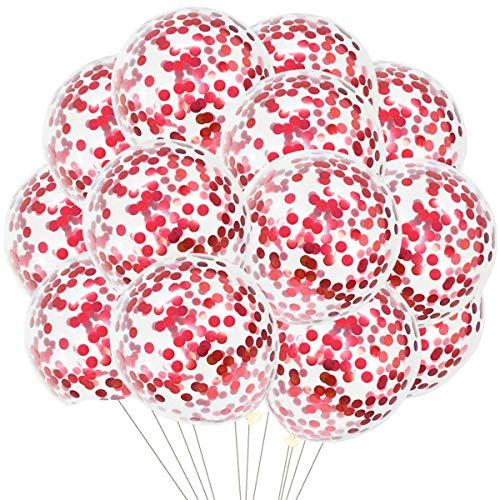 50 Stück Rot Konfetti Luftballons, Rot Konfetti Ballons Latex Ballons Helium Ballons für Babyparty Hochzeit Mädchen Kinder Geburtstag Party Graduierung Dekoration