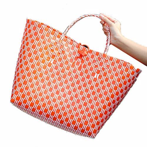 Hkw-shop Einkaufskorb Einkaufswagen handgewebt Grün Korb Korb Korb schmutziger Kleidung Korb Hundekorb Wasserdicht-Strand-Tasche Fashion Wallet Damen Einkaufstasche (Color : Orange)