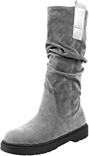 ELEEMEE Women Flat Slouch Boots Pull On