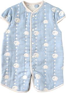 [10mois(ディモワ)-Hoppetta]ふくふくガーゼ(6重ガーゼ) 2wayベビースリーパー コットン100% 新生児~3歳頃まで ブルー