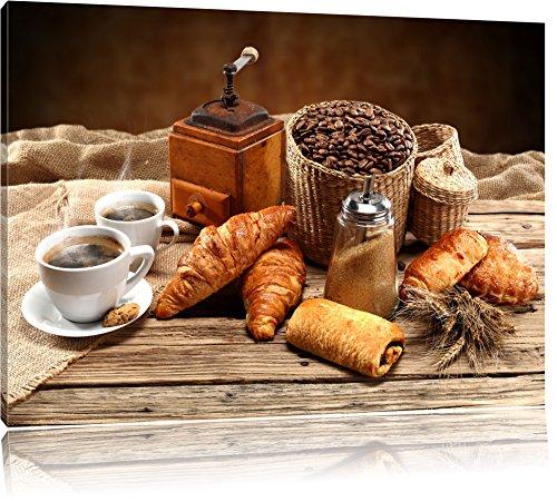 Pixxprint Aromatischer Kaffee mit Croissant / 80x60cm Leinwandbild bespannt auf Holzrahmen/Wandbild Kunstdruck Dekoration