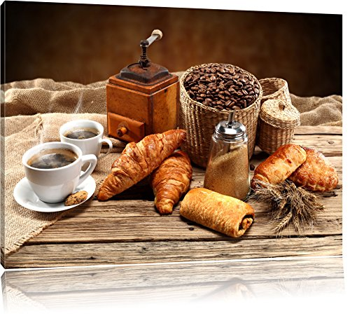Pixxprint Aromatischer Kaffee mit Croissant als Leinwandbild/Größe: 60x40 / Wandbild/Kunstdruck/fertig bespannt