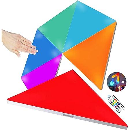 Amailtom LED Dreieck Wandleuchte, Smart LED Modulare Licht Platten Berührungssteuerung Mehrfarbiges RGBW Nachtlicht DIY Geometrie Spleißen Quantum Leuchte für Zuhause Spielzimmer Party Dekor,6 Stück