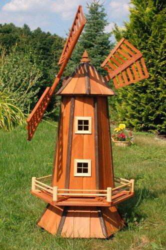 Deko-Shop-Hannusch Grand moulin à vent décoratif en bois enduit avec roulement à billes