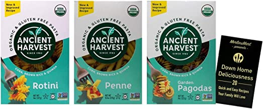 Ancient Harvest Organic Gluten-Free Corn Brown Rice Quinoa Blend Pasta | 3 Shape Variety | (1) each: Rotini, Penne, Garden...
