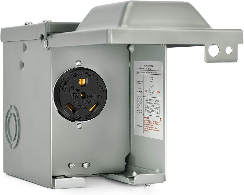 Kohree 30 Amp RV Power Large-scale sale Outlet 125 Ne Box Enclosed Volt Very popular Lockable
