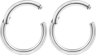 BanaVega 2PCS Surgical Steel High Polished hinged Segment Ring Nose Ring clicker 16 Gauge Earring Septum Piercing Jewelry Choose Sizes
