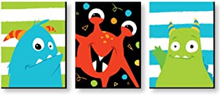 Big Dot of Happiness Monster Bash - Nursery Wall Art and Kids Room Decorations - Christmas Gift Ideas - 7.5 x 10 inches - Set of 3 Prints