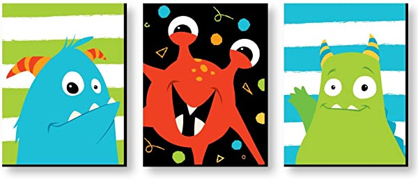 Big Dot Of Happiness Monster Bash Nursery Wall Art And Kids Room Decorations 7 5 X 10 Inches Set Of 3 Prints
