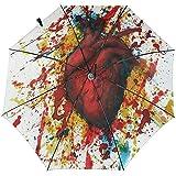 Paraguas de Viaje a Prueba de Viento Impreso anatómico Heart Abstract - Toldo Reforzado a Prueba de Viento