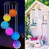 Verfärbung Solarbetriebenes LED-Windspiel, farbwechselndes Windbell-Licht Dekorative romantische Hängelampe Solar-Terrassendeck im Freien mit Haken 1PCS
