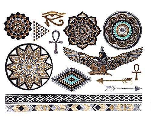 GOLD Tattoo, Flash Tattoos, Haut Tattoos, orientalischer Körperschmuck, Ägyptische Ornamente, Modeschmuck, YS-48