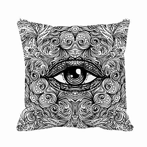 GOSMAO Funda de Almohada Ojo Que Todo lo ve en místico con patrón de Mandala Redondo Adornado Algodón Lino Throw Pillow Case Funda de Almohada para Cojín 45x45 cm