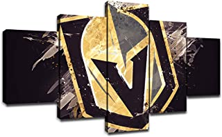 Vegas Golden Knights Poster Wall Decor for Living Room Painting 5 Piece NHL Hockey Team LogoCanvas Prints Wall Art Picture Decoration for Home Poster with Frame Ready to Hang(60''Wx32''H)