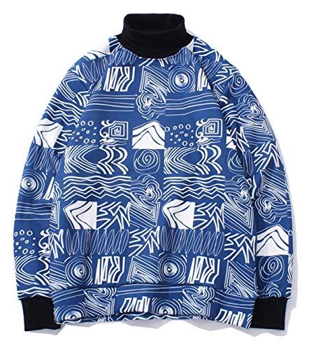 PIZOFF Unisex Hip-Hop Druckmuster Kapuzenpullover - tifer Schalternaht Raglan-Shirt mit Kapuze Kariert Blau Y1899-04-L